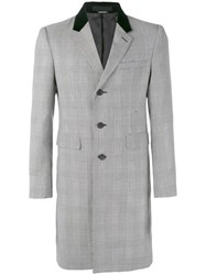 Alexander Mcqueen Herringbone Single Breasted Coat Men Cotton Viscose Virgin Wool 52 Grey