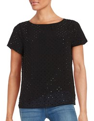 Karl Lagerfeld Short Sleeve Embellished Overlay Top Black