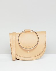 Melie Bianco Vegan Hoop Cross Body Bag Tan