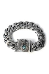 King Baby Studio Sterling Silver Carved Feather Raven Eye Clasp Link Bracelet Metallic