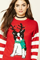Forever 21 Reindeer Dog Holiday Sweater Red Cream