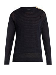 Balmain Button Shoulder Distressed Linen Sweater Navy