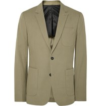 Ami Alexandre Mattiussi Khaki Green Slim Fit Cotton Blend Blazer Green