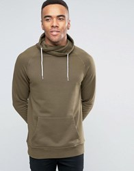 New Look Hoodie With Funnel Neck In Khaki Khaki Green