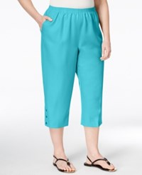 Alfred Dunner Plus Size Classics Collection Capri Pants Turquoise Aqua