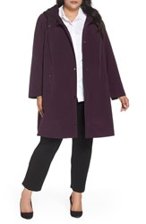 Gallery Plus Size Hooded A Line Raincoat Blackberry