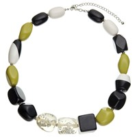 John Lewis Beaded Statement Necklace Black Chartreuse