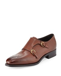 Salvatore Ferragamo Galati Double Monk Strap Textured Loafer Brown