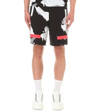 Off White C O Virgil Abloh Liquid Spots Cotton Jersey Shorts Red