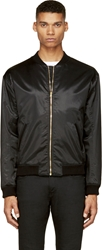 Versus Black Embroidered Lion Bomber Jacket