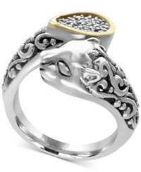 Effy Diamond Accent Panther Bypass Ring In Sterling Silver And 18K Gold Two Tone
