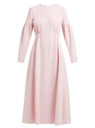 Emilia Wickstead Cecil Shirred Wool Crepe Midi Dress Light Pink