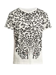 Saint Laurent Leopard Print Cotton Jersey T Shirt Black Multi