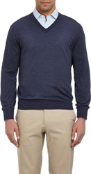Brunello Cucinelli Tipped V Neck Sweater Navy