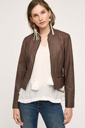 Anthropologie Dara Vegan Leather Jacket Plum