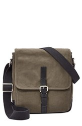 Men's Fossil 'Davis' Canvas Messenger Bag Green Olive