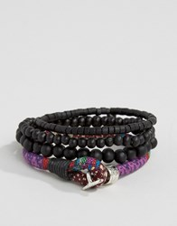Icon Brand Beaded And Woven Bracelet Pack Black