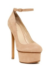 Ziginy Shirelle Suede Ankle Strap Pump Beige
