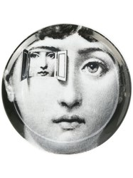 Fornasetti Face Print Coaster Black
