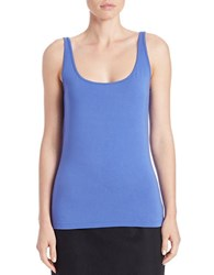 Lord And Taylor Stretch Roundneck Tank Azure Blue