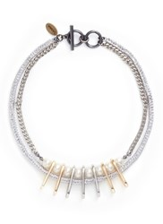 Venna Crystal Faux Pearl Chain Link Necklace White Metallic
