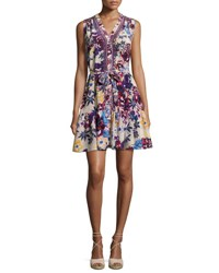 Saloni Tilly C Floral Print Sleeveless Shirtdress Beige Multicolor Multi Pattern