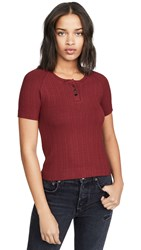 3X1 Slim Knit Henley Crimson