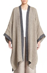 Eskandar Reversible Two Tone Linen Blend Coat 1