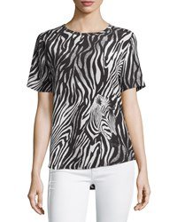 Equipment Riley Zebra Print Silk Tee Marshmallo