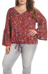 Angie Plus Size Print Drawstring Hem Top Red Floral