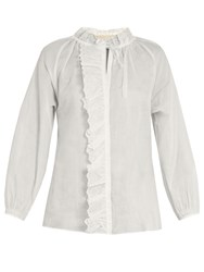 Vanessa Bruno Guylaine Broderie Anglaise Cotton Top White