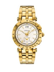 Versace V Race Sport Goldtone Stainless Steel Five Link Bracelet Watch