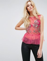Asos Top In Mesh With Pep Hem And Sequin Detail Bright Pink