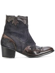 Ink Cowboy Boots Calf Leather Calf Suede Leather Blue