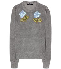 Dolce And Gabbana Embroidered Knitted Sweater Grey