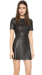 Kendall Kylie Leather Short Sleeve Dress Black