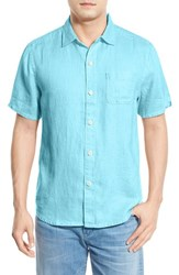 Tommy Bahama Men's Big And Tall 'Seaglass Breezer' Short Sleeve Linen Sport Shirt Clear Lake