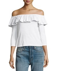 English Factory Ruffled Off The Shoulder Top White