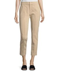 Vince Mid Rise Fitted Pintuck Trousers Beige