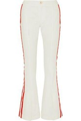 Maggie Marilyn Game Changer Grosgrain Trimmed Mid Rise Bootcut Jeans White