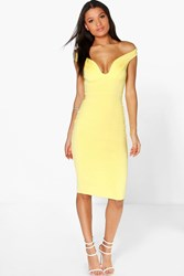 Boohoo Off The Shoulder Midi Bodycon Dress Lemon