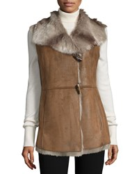 Ellen Tracy Faux Fur Vest Brown