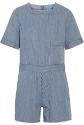 Mih Jeans M.I.H Biarritz Striped Cotton Playsuit Blue