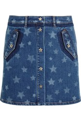 Valentino Bleached Star Print Stretch Denim Mini Skirt Mid Denim
