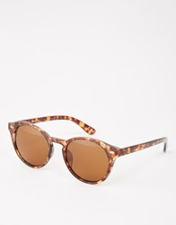 Asos Round Sunglasses In Tort And Brown Lens Tort