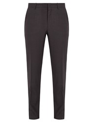 Wooyoungmi Slim Fit Micro Checked Flannel Wool Trousers Grey Multi