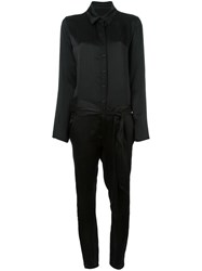 Rta Collared Long Sleeve Jumpsuit Black