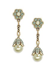 Heidi Daus Crystal And Rhinestone Button Floral Drop Earrings Pistachio
