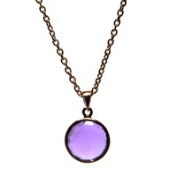 Puck Wanderlust Gold February Birthday Charm Necklace Amethyst Silver Pink Purple