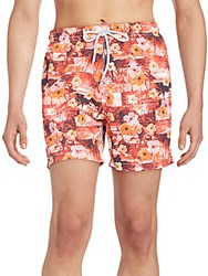 Saks Fifth Avenue Hawaii Patchwork Swim Trunks Pink